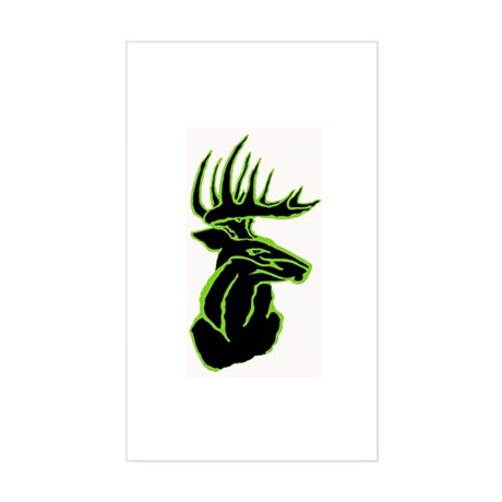 Green Buck on Black Rectangle Sticker