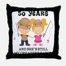 50th Anniversary Mens Fishing Throw Pillow