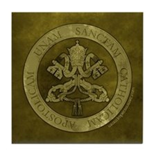 """Green Stone Vatican Seal w/4 Marks"" Tile Coaster"