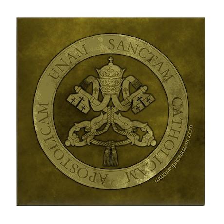 """Green Stone Vatican Seal w/4 Marks"" Tile Coaster"