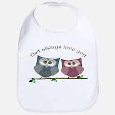 Owl always love cut cute Owls Art Bib