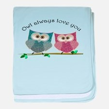 Owl always love cut cute Owls Art baby blanket