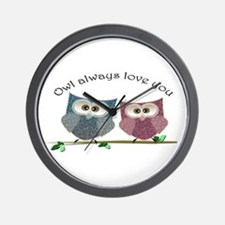 Owl always love cut cute Owls Art Wall Clock
