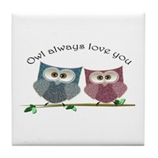 Owl always love cut cute Owls Art Tile Coaster