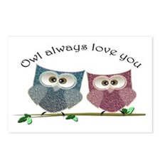 Owl always love cut cute Owls Art Postcards (Packa