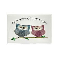Owl always love cut cute Owls Art Rectangle Magnet