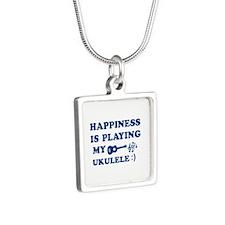 Ukulele Vector Designs Silver Square Necklace