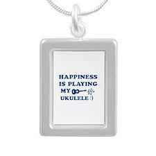 Ukulele Vector Designs Silver Portrait Necklace