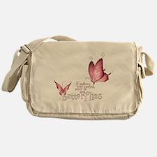 Pink Butterfly Messenger Bag