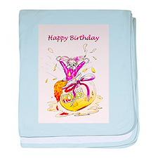 Honey Bunny, Happy Birthday in Pink baby blanket