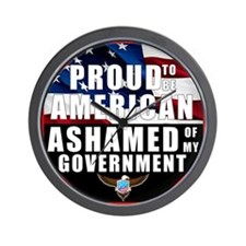 Proud USA Ashamed Government Wall Clock