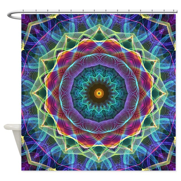 Inward Flower Mandala Shower Curtain By ZandiepantsHomeDecor