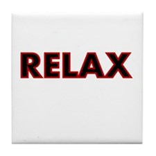 RELAX-RED BLACK Tile Coaster