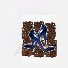 Blue Leopard Shoes Greeting Card