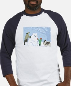 Keeshond Snow Dog Baseball Jersey
