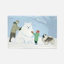 Keeshond Snow Dog Rectangle Magnet (100 pack)