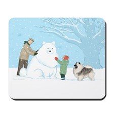 Keeshond Snow Dog Mousepad