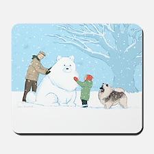 Keeshond Snow Dog Mousepad