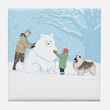Keeshond Snow Dog Tile Coaster