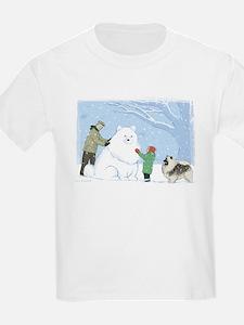 Keeshond Snow Dog Kids T-Shirt