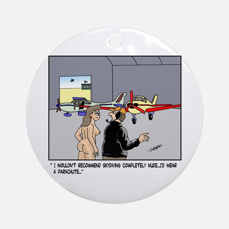Nude Skydiver Ornament (Round)