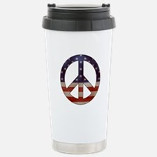 Weathered Flag Peace Sign Travel Mug