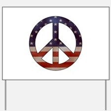Weathered Flag Peace Sign Yard Sign