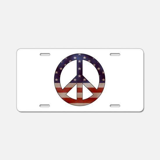 Weathered Flag Peace Sign Aluminum License Plate