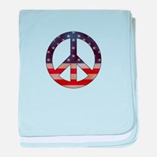 Weathered Flag Peace Sign baby blanket