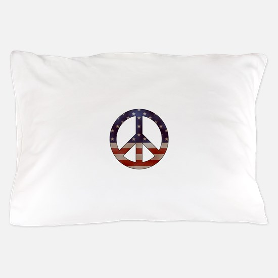 Weathered Flag Peace Sign Pillow Case