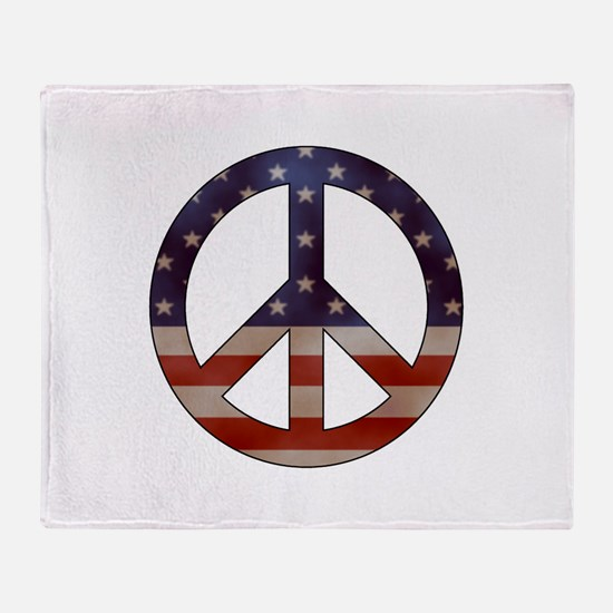 Weathered Flag Peace Sign Throw Blanket