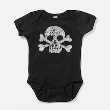Worn Skull And Crossbones Baby Bodysuit