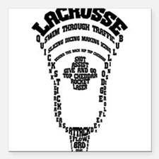 "Lacrosse Head Attack Square Car Magnet 3"" x 3"""