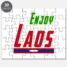 Enjoy Laos Flag Designs Puzzle