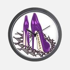 Purple Stiletto Art Wall Clock