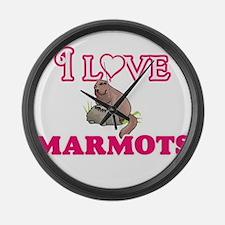 I Love Marmots Large Wall Clock