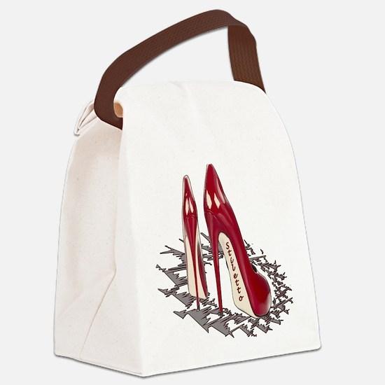 Burgundy Stiletto Art Canvas Lunch Bag