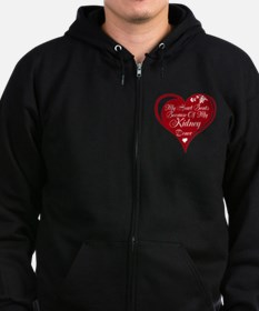 Personalize me Red Transplant Heart Zip Hoodie