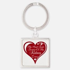 Personalize me Red Transplant Heart Square Keychai