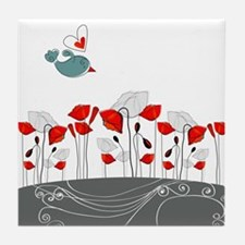 Cute Bird with Flowers Tile Coaster