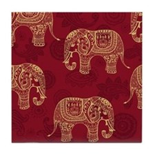 Beautiful Elephant Pattern Tile Coaster