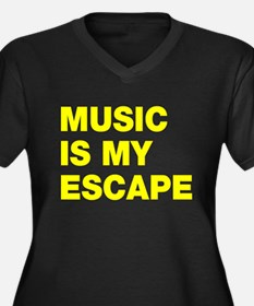 Music Is My Escape Women's Plus Size V-Neck Dark T