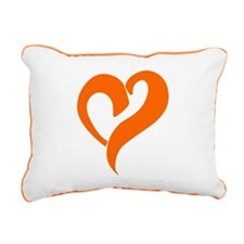 Rectangular Canvas Pillow With An Orange Heart