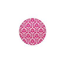 Hot Pink Damask Mini Button