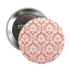 "Nectarine Orange Damask 2.25"" Button"