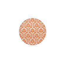 Nectarine Orange Damask Mini Button