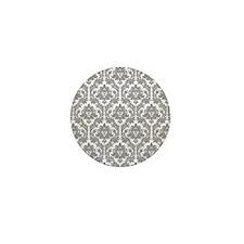 Pebble Grey Damask Mini Button