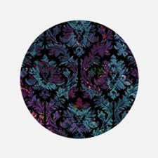 "Damask pattern on purple and blue 3.5"" Button"