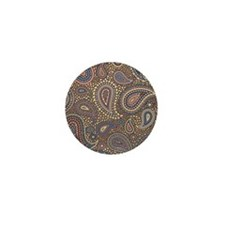 Beige Rose Mosaic Paisley Mini Button