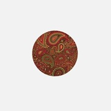 Red Mosaic Paisley Mini Button